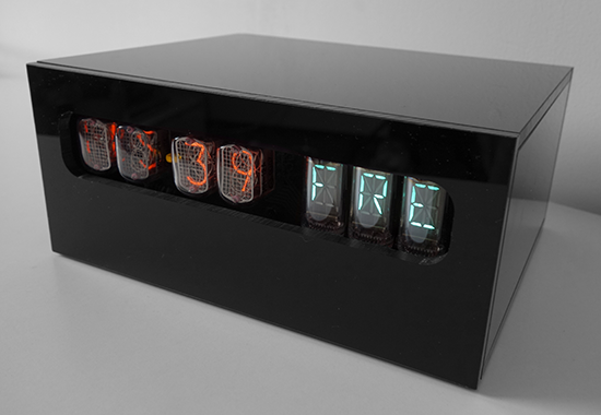 nixie clock with VFD-weekday display